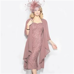Cabotine Lace Dress And Wrap Dusky Pink