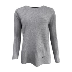 Picadilly Ribbed Jumper With Round Neckline Grey