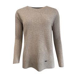 Picadilly Ribbed Jumper With Round Neckline Taupe