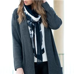 Marble Graphic Print Scarf Black