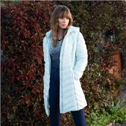 Marble Longline Coat With Hood Mint