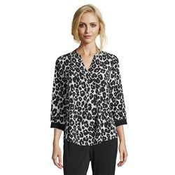 Betty & Co Animal Print V Neck Blouse Black