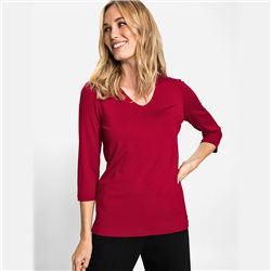 Olsen V Neck Top With 3/4 Sleeves Red