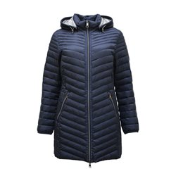 Lebek Lightweight Quilted Coat With Hood Blue