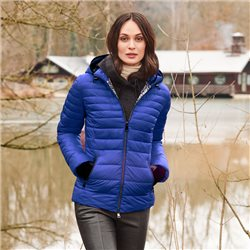Quilted Coat With Hood Blue