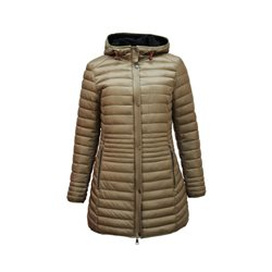 Lebek Longline Coat With Hood Caramel