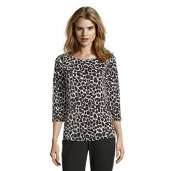 Betty Barclay Animal Print Round Neck Blouse Black