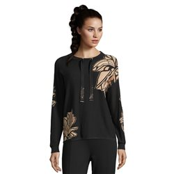 Betty Barclay Leaf Print Jumper With Ribbon Tie Black