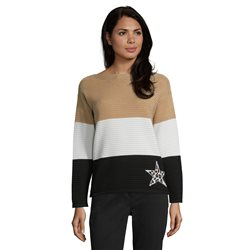 Betty Barclay Striped Jumper With Star Camel