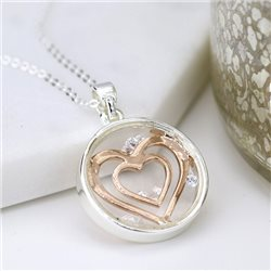 Pom Enclosed Heart Necklace Silver