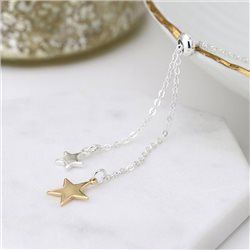 Pom Double Star Necklace Silver