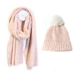 Pom Ribbed Knit Hat & Scarf Pink
