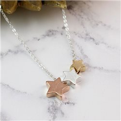 Pom Star Necklace With Brushed Finish Silver