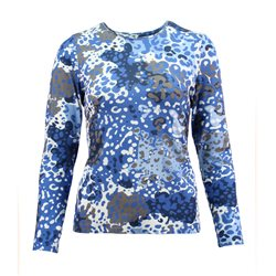 Lebek All Over Watercolour Print Top Blue