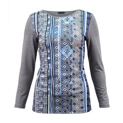Lebek Top With Abstract Print Front Grey