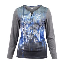 Lebek Top With Front Print And Sparkle Neckline Grey