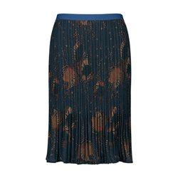 Samoon Pleated Skirt With Floral Design Navy