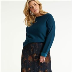 Samoon Double-Faced Knitted Jumper Blue