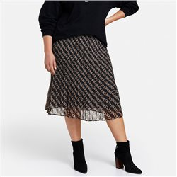 Samoon Pleated Skirt With Modern Chain Print Black