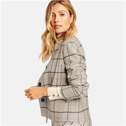 Gerry Weber Short Blazer With Window Check Taupe