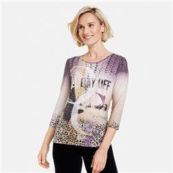 Gerry Weber 3/4 Sleeve Top With Panneaux Print Lilac