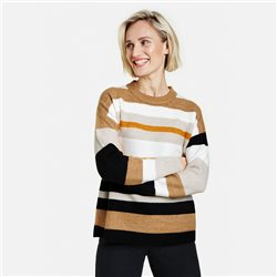 Gerry Weber Jumper With Block Stripes Cream