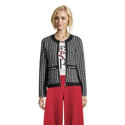 Betty Barclay Zip Jacket With Houndstooth Pattern Black
