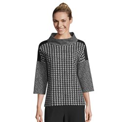 Betty Barclay High Neck Jumper With Houndstooth Pattern Black
