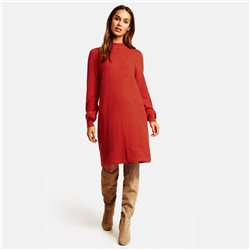 Taifun Knitted Dress With Balloon Sleeves Red