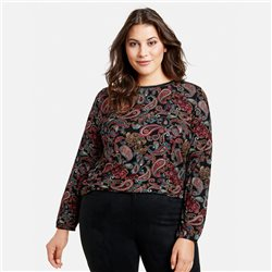 Samoon Ecovero Top With A Paisley Print Black