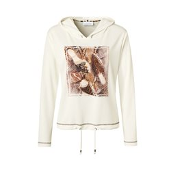 Just White Photo Print Hoodie Cream