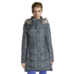 Betty Barclay Coat With Faux Fur Hood Teal