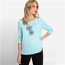 Olsen Round Neck Top With Dandelion Print Mint