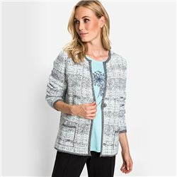 Olsen One-Button Closure Jacquard  Cardigan Grey