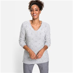 Olsen V Neck Sweater With Textured Detail Grey