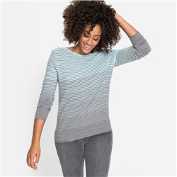 Olsen Round Neck Sweater With Stripes Mint