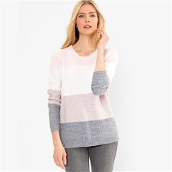 Olsen Round Neck Sweater With Block Stripes Blush