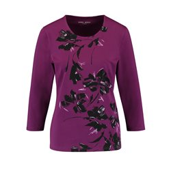 Gerry Weber Organic Cotton Floral Print Top Purple