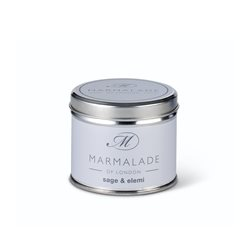 Marmalade Of London Sage & Elemi Medium Tin Candle White