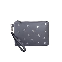 Red Cuckoo Star Wristlet Purse Grey