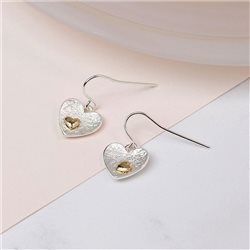Pom Double Heart Earrings Silver