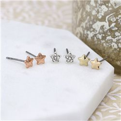 Pom Star Earring Set Silver