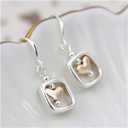 Pom Square Heart Earrings Silver