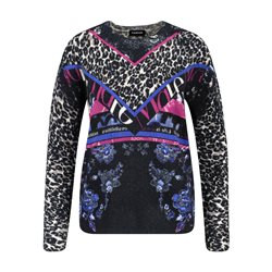 Taifun Animal And Flower Print Jumper Navy