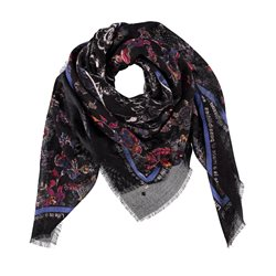Taifun Scarf With A Floral Print Navy
