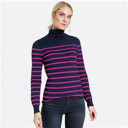 Taifun Polo Neck Jumper With Stripes Navy