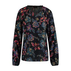 Taifun Blouse With A Flower Print Navy