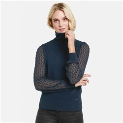 Taifun Sweater With Lace Sleeves Navy
