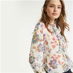 Taifun Ruffle Blouse With A Floral Print Off White