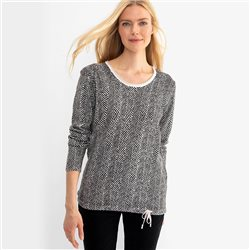 Olsen Pattern Stripe Jumper Black